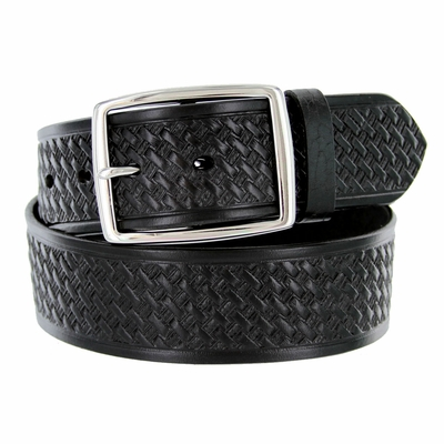 "4001 Basket-weave Men's Work Uniform Belt 1 3/4"" Wide - BLACK"