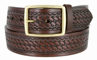 "4001 Basket-weave Men's Work Uniform Belt 1 3/4"" Wide - BROWN"