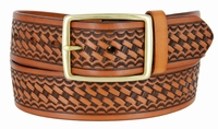 "4001 Basket-weave Men's Work Uniform Belt 1 3/4"" Wide - TAN"