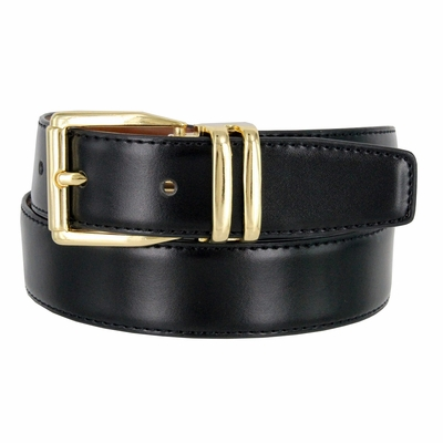 "4010D-GP-160502 Men's Reversible Leather Dress Casual Belt 1-1/8"" wide - Black/Tan"