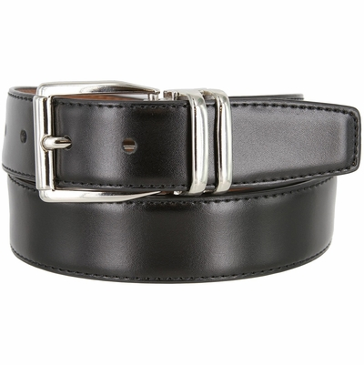 "4010D-NP-160502 Men's Reversible Leather Dress Casual Belt 1-1/8"" wide - Black/Tan"