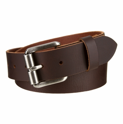 """4027XL Antique Roller Buckle with Genuine Full Grain Leather Belt - 1 1/2"""" Wide"""