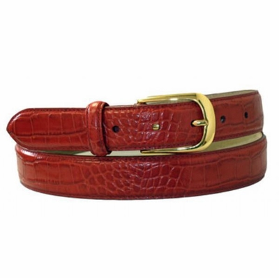 "4044 RED  Croco Embossed Leather Belt - 1 1/8"" wide"