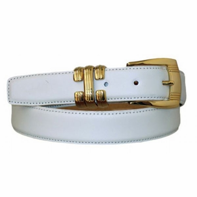 "4069 Gold Leather Dress Belt - 1 1/8"" wide"