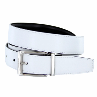 "4089E Reversible Leather Dress Belt - 1 1/8"" wide  White/Black"
