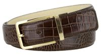 "4090 Alligator Embossed Leather Dress Belt - 1 3/8"" wide BROWN"