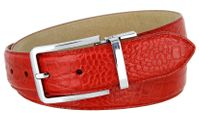 "4091 Alligator Embossed Leather Dress Belt - 1 3/8"" wide RED"