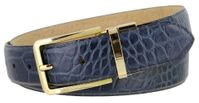 "4092 Alligator Embossed Leather Dress Belt - 1 3/8"" wide NAVY"