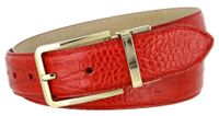 "4093 Alligator Embossed Leather Dress Belt - 1 3/8"" wide RED"