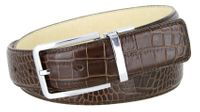 "4094 Alligator Embossed Leather Dress Belt - 1 3/8"" wide BROWN"