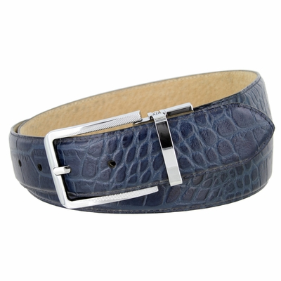"4095 Alligator Embossed Leather Dress Belt - 1 3/8"" wide NAVY"
