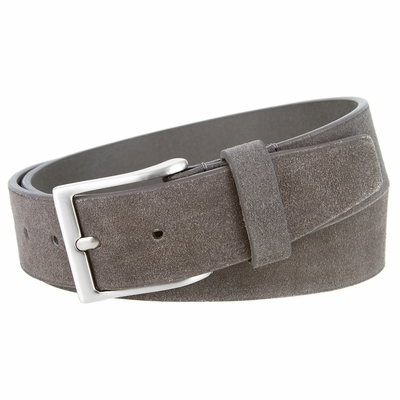 """41101 Casual Suede Leather Dress Belt - 1 1/2"""" Wide - GRAY"""