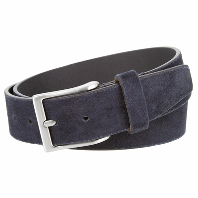"""41101 Casual Suede Leather Dress Belt - 1 1/2"""" Wide - NAVY"""