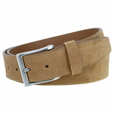 """41101 Casual Suede Leather Dress Belt - 1 1/2""""Wide - TAN"""