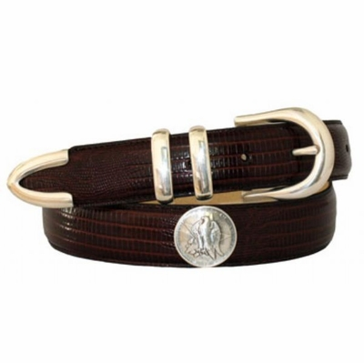 "4126 Calfskin Leather Concho Belt - 1 1/4"" wide"
