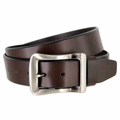 "4133 Casual Jeans Solid Leather Dress Belt - 1 1/2"" wide - 3 Colors Available"