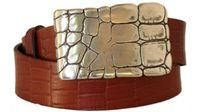 "4197 Full Grain Embossed Leather Belt - 1 1/2"" wide"