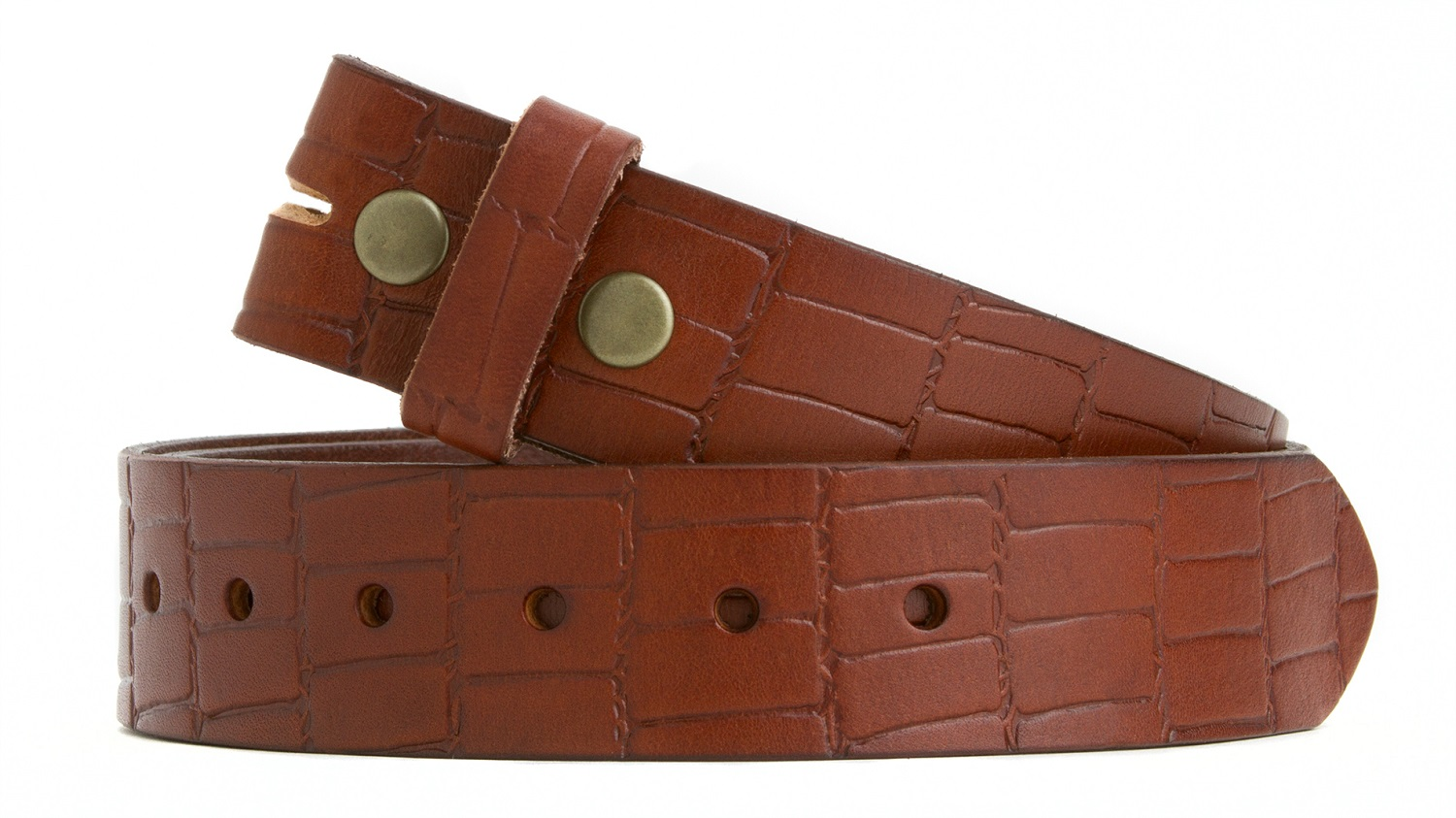 BELT REMOVABLE BUCKLE BROWN.SOLID ONE PIECE LEATHER