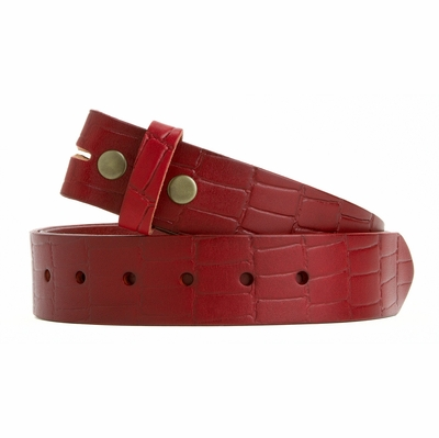 "4208 Full Grain Embossed One Piece Leather Belt Strap - 1 1/2"" wide RED"