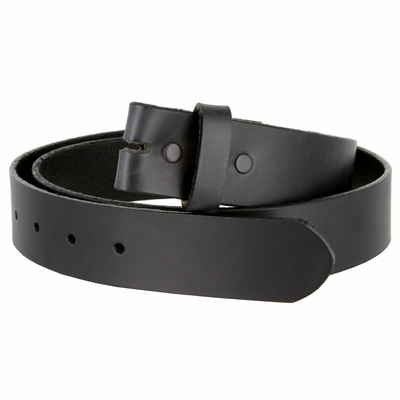 "4213 Made in USA - One Piece Full Genuine Leather Belt Strap 1 1/2"" Wide - BLACK"