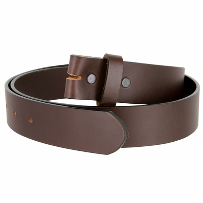 """4213 Made in USA - One Piece Full Genuine Leather Belt Strap 1 1/2"""" Wide - BROWN"""