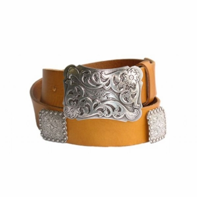 "4231 Western Floral Buckle Full Grain Leather Belt - 1 1/2"" wide"