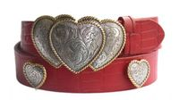 "4233 Triple Hearts Western Casual Embossed Leather Belt - 1 1/2"" wide"