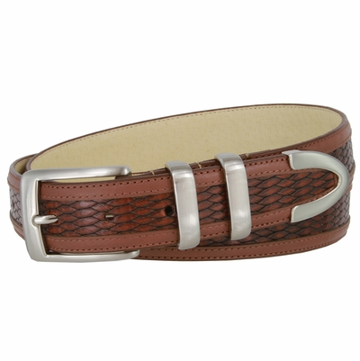 "4243 Contemporary Design Leather Dress Belt - 1 1/4"" Wide"