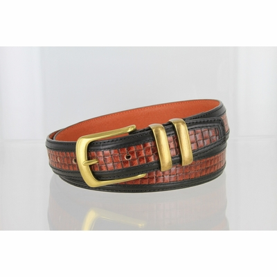 """4257 Contemporary Double Stitched Edge Basket-weave Genuine Italian Leather Office Dress Belt 1-1/4"""" wide"""