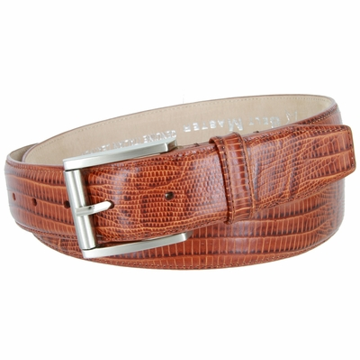 "4276 Italian Calfskin Leather Dress Belt with Roller Buckle 1 3/8"" - LIZARD TAN"