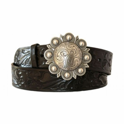 "4297 Berry Buckle Floral Western Leather Belt - 1 1/2"" wide"