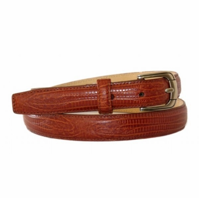 "4289 Lizard Embossed Leather Dress Belt - 1"" wide"