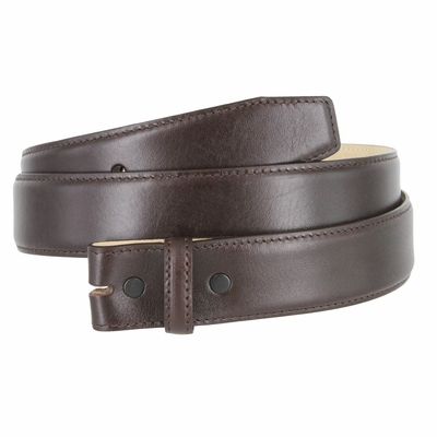 "1935 Smooth Genuine Leather Belt Strap - 1 3/8"" wide - Brown"