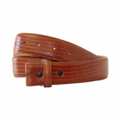 "4326 Genuine Italian Calf Skin Lizard Embossed Strap - 1 3/8"" wide TAN"