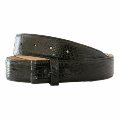 "4328 Genuine Italian Calf Skin Lizard Embossed Strap - 1 3/8"" wide BLACK"