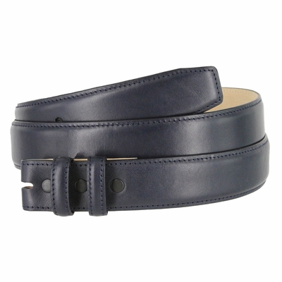 "4340 Smooth Genuine Leather Belt Strap - 1 1/4"" wide  NAVY"
