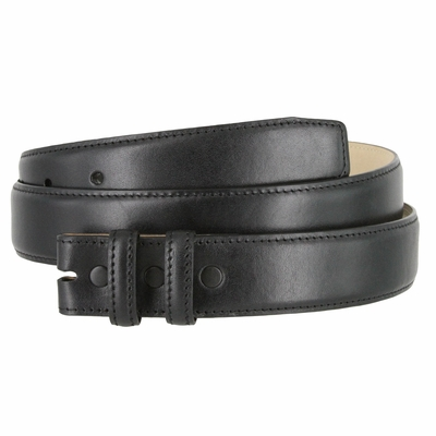 "4346 Smooth Genuine Leather Belt Strap - 1 1/4"" wide - BLACK"