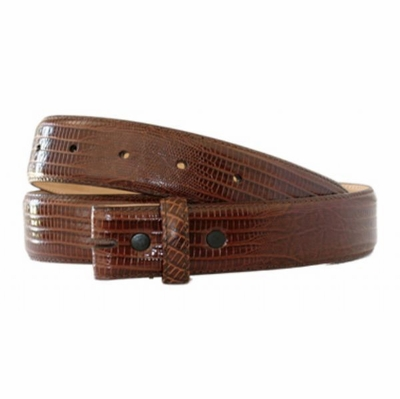 "4350 Lizard-Embossed Calfskin Leather Belt Strap - 1 1/4"" wide BROWN"