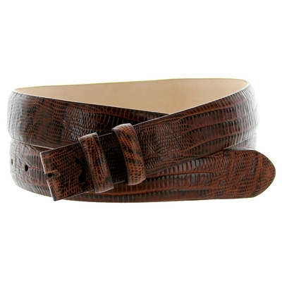 "4373 Lizard Grain Belt Strap - 1 1/8"" wide  BROWN"