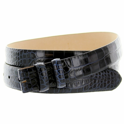 "4379 Alligator Grain Belt Strap - 1 1/8"" wide NAVY"