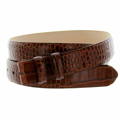 "4381 Alligator Grain Belt Strap - 1 1/8"" wide BROWN"