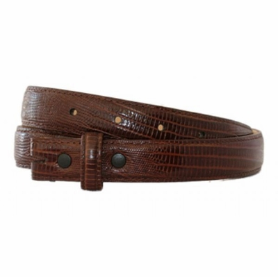 "4386 Lizard Embossed Calfskin Leather Belt Strap - BROWN 1"" wide"