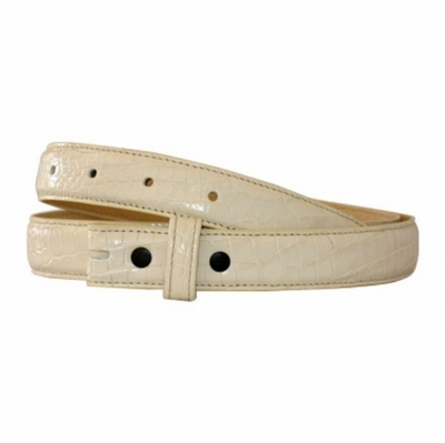 "4387 Off White Croco Embossed Belt Strap - 1"" Wide"