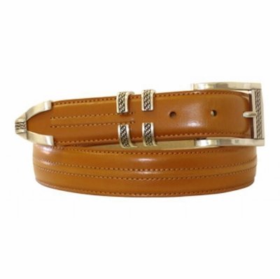 "4442 Stitched Center Leather Dress Belt - 1 1/8"" wide"