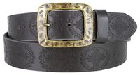 "4446 Medallion Vintage Casual Leather Belt - 1 1/2"" WIDE BRASS Buckle"