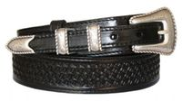 "4506 Ranger Basket-Weave Full Grain  Leather Belt - 1-3/8"" Wide - Billet 3/4"""