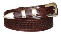 "4509 Basket-Weave Ranger Full Grain Leather Belt - 1-3/8"" Wide - Billet 3/4"""