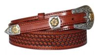 "4511 Basket-weave Embossed Full Grain Ranger Leather Belt - 1 1/2"" - 3/4"" WIDE"