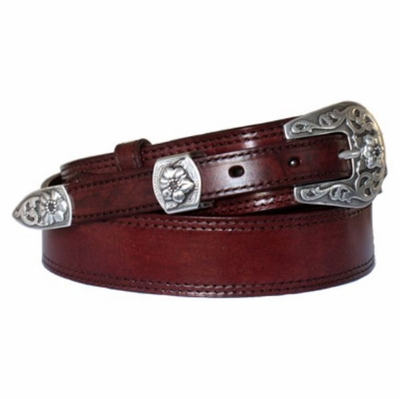 "4512 Floral Ranger Full Grain Leather Belt - 1 1/2"" - 3/4"" WIDE"