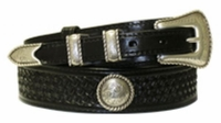 "4516 Ranger Basket-Weave Full Grain Leather Belt -1 1/2"" - 3/4"" Wide"